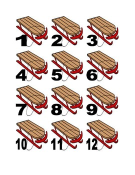 Sled Numbers for Calendar or Math Activity