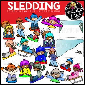 Sledding Clip Art Set {Educlips Clipart}