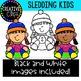 Sledding Kids Clipart {Winter Clipart}