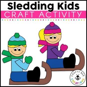Sledding Kids Cut and Paste