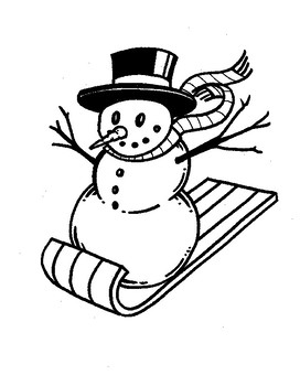 Sledding Snowman Coloring Sheet