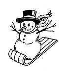Sledding Snowman Coloring Sheet