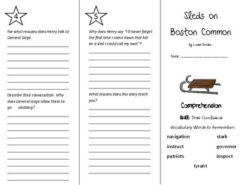 Sleds on Boston Common Trifold - Treasures 5th Grade Unit 1 Week 5 (2011)