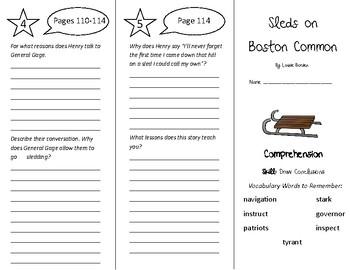 Sleds on Boston Common Trifold - Treasures 5th Grade Unit