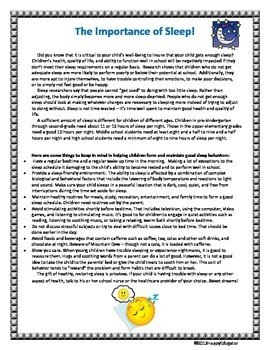 Sleep - Informational Handout for Parents