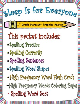 Sleep Is for Everyone:  First Grade Spelling and Sight Words Packet
