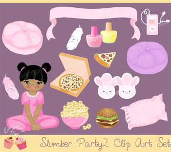 Sleep Over Slumber Party Clipart Set