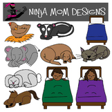 Sleeping Animals and Children Clip Art in Color and Black Line