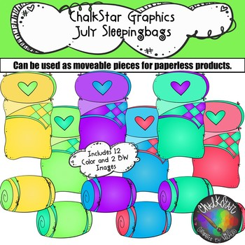 Sleeping Bags July Clip Art –Chalkstar Graphics