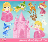 Sleeping Beauty Princess Aurora Briar Rose Pink Castle Clipart Set