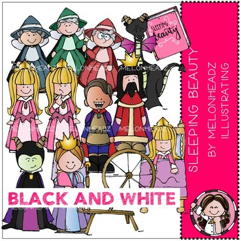 Sleeping Beauty clip art - BLACK AND WHITE - Melonheadz Clipart