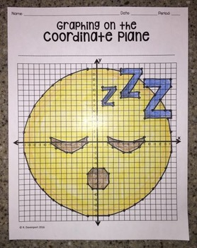 Sleeping Face EMOJI (Graphing on the Coordinate Plane/ Mystery Picture)