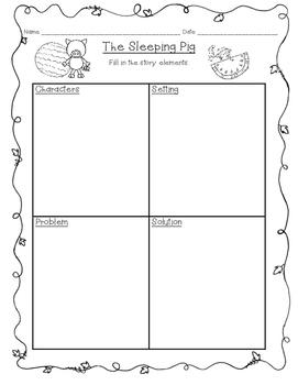 Sleeping Pig Story Elements Organizer