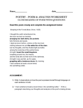 Sleeping in the Forest (Mary Oliver, 1935) Poetry assignment - poem & worksheet