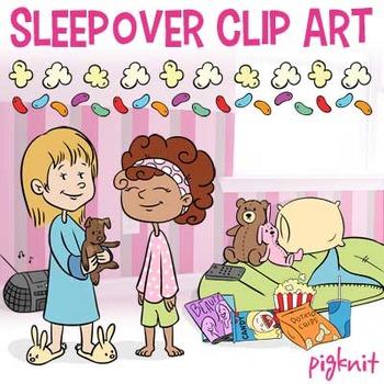 Sleepover Clip Art, Slumber Party | Sleeping Bag, Popcorn, Friends, Teddy Bear