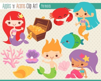 Mermaid Clip Art - color and outlines