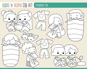 Sleepover Fun Clip Art - color and outlines