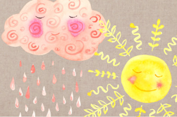 Sleepy Cloud Watercolor Clip Art Set