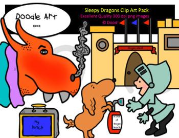 Sleepy Dragons Clip Art Pack