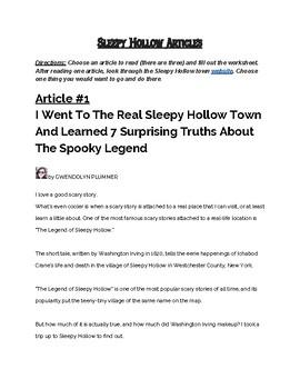 Sleepy Hollow Study: Pre-Reading Articles for Sleepy Hollow [FREEBIE]