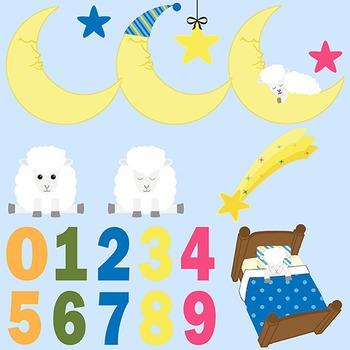 Sleepy Sheep, Counting Sheep Bedtime Clip Art