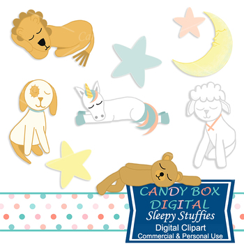 Sleepy Stuffies Stuffed Animal Toy Clip Art for Baby Showers - Commercial Use OK