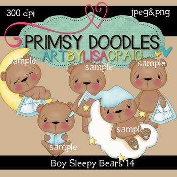 Sleepy Time Bears-Boys 300 dpi clipart