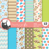 Sleepy sloth papers, commercial use, scrapbook papers - PS855