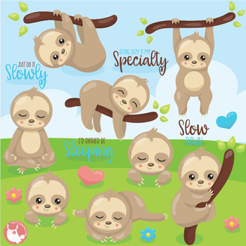 Sleepy sloths clipart commercial use, vector graphics  - CL1077