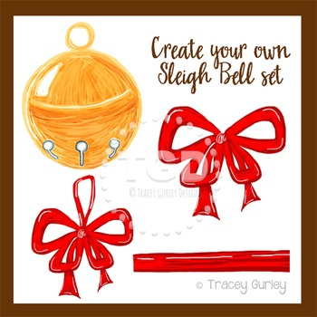 Sleigh Bell Art, Invitation Art, holiday clip art Tracey Gurley Designs