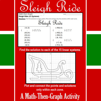 Sleigh Ride - 15 Linear Systems & Coordinate Graphing Activity
