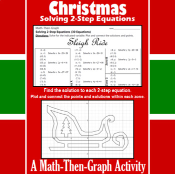 Sleigh Ride - A Math-Then-Graph Activity - Solve 2-Step Equations