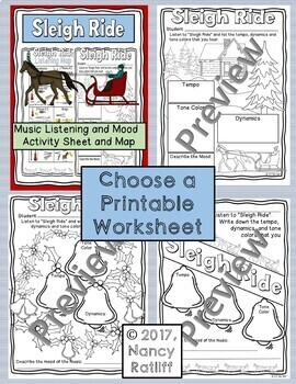 Sleigh Ride Music Listening and Mood Activity Sheet/Worksheet/Coloring Sheet