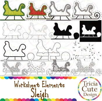 Mazes Clip Art Sleigh Worksheet Elements for Tracing Cutti