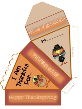 Slices of Gratitude~A Thanksgiving 3-D Craftivity  & Writing Activity