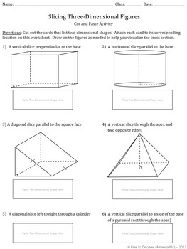 Slicing Three-Dimensional Figures Discovery Worksheet and Cut and Paste Activity