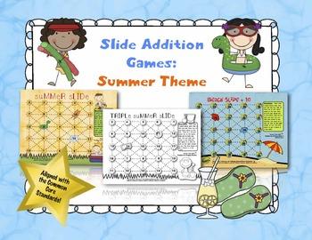 Slide Addition Games:  Summer Theme