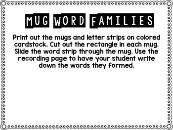 Slide & Read Winter Mug Word Families