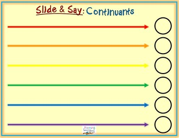 Speech Therapy Slide & Say Continuants Phonology Cue Mats Freebie