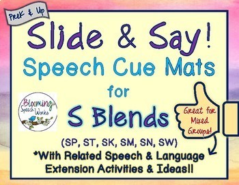 S-Blend Phonology Cue Mats for Consonant Cluster Reduction or Stopping
