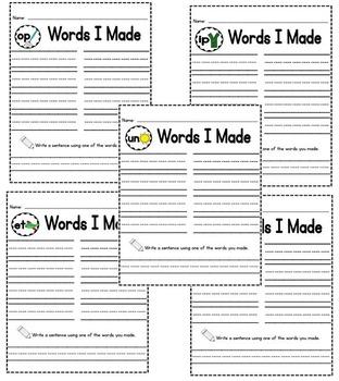 Slide a Word-Short Vowels Family Set