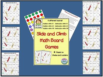 Slide and Climb Math Board Games (like Chutes and Ladders)