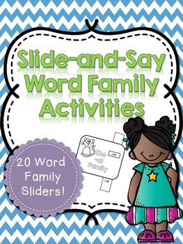 Slide-and-Say Word Family Activity Sliders