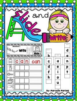 Slide and Write- CVC Word Building Literacy Center Activities