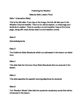 Slide-by-slide Lesson Plans Predicting the Weather