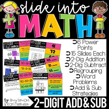 Slide into Math:  2 Digit Addition and Subtraction With Regrouping