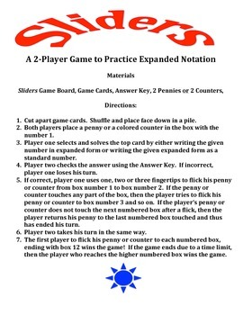 Sliders - A 2-Player Game to Practice Expanded Notation