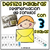 Sliders with THREE SYLLABLES Segmentation segmentación de palabras tres sílabas