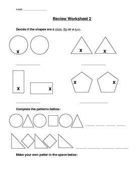 Slides, Flips and Turns Review Worksheet