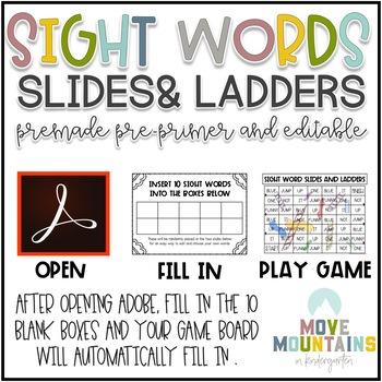 Slides and Ladder Editable Pre-Primer Sight Word Game